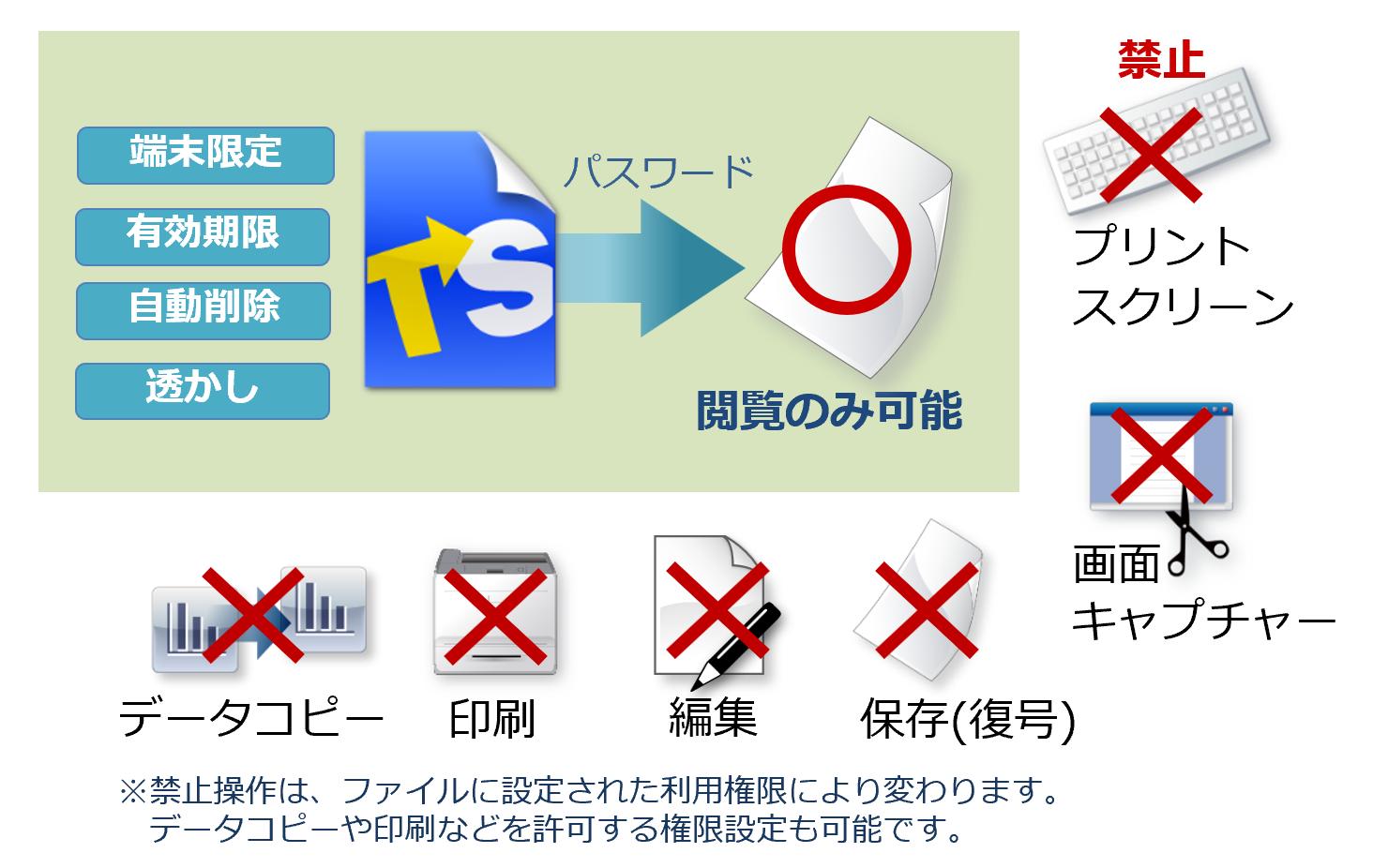 コピー/印刷禁止で二次利用を防止